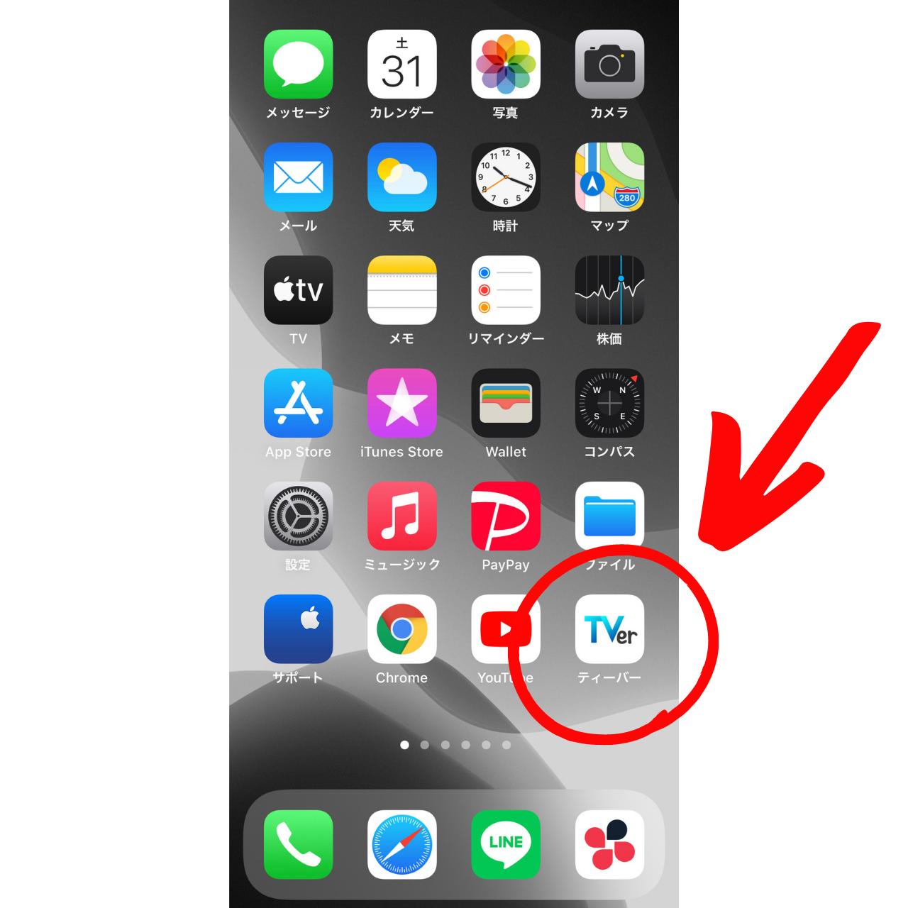 ホーム画面に表示されているTVerアプリの画像